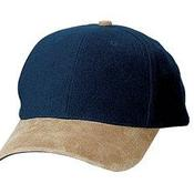 Two Tone Brushed Twill Cap with Suede Visor